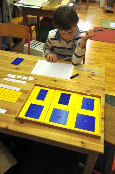 Geometrie – Flächenberechnung – Erkennen, dass  die Größe von Flächen angegeben werden kann, wenn die Fläche ein Rechteck ist, dass die Fläche berechnet wird (nicht gemessen werden kann) , die Einheit der Flächenberechnung das Quadrat ist, Figuren, die nicht rechtwinklig sind, in Rechtecke umgebaut werden können, um die Größe der Fläche anzugeben, weitere Arbeit: Erarbeitung der Flächenberechnungsformeln, Vorbereitung auf die Trigonometrie