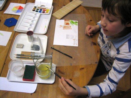 Kunst – Malen mit kombinierten Maltechniken,  Farblehre  - Eine der Arbeiten zum Kennenlernen der verschiedenen Maltechniken