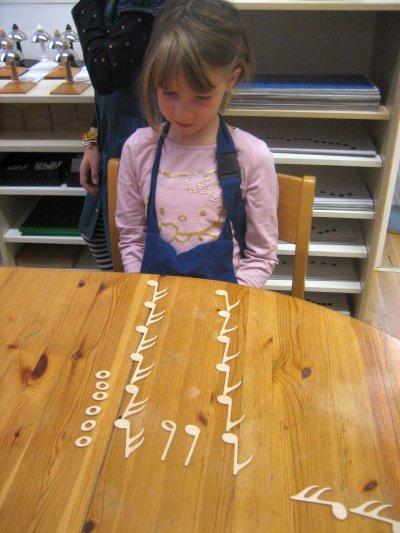 Kunst – Musik – Stereognostischer Notenbeutel – Ziele: Vorbereitung auf das Montessori-Notenmaterial, Schreiben und Lesen der Noten